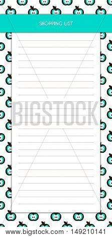 Simple Blue Shopping List Template with Apple Icons. Vector illustration template for personal use. Modern design.