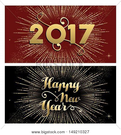 New Year 2017 Gold Firework Greeting Card Set