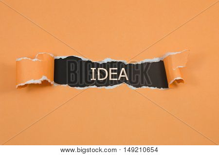 The text Idea appearing behind torn brown paper