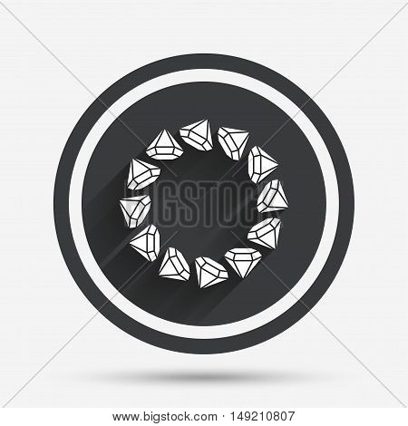 Jewelry sign icon. Diamonds circle symbol. Circle flat button with shadow and border. Vector