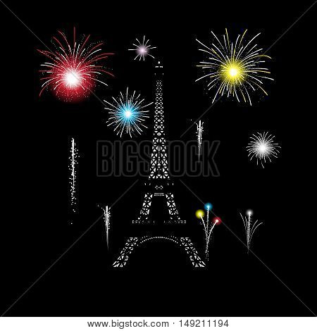 Eiffel tower glows in the night . Fireworks explode around