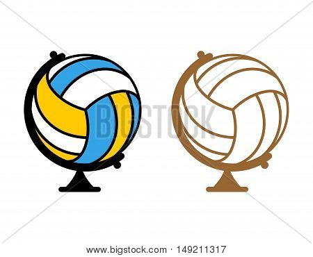 Globe Volleyball. World Game. Sports Accessory As Earth Sphere. Scope Of Game Volleyball