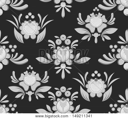 Gorodets Seamless Pattern. Floral Ornament. Russian National Folk Craft. Traditional Decoration Pain