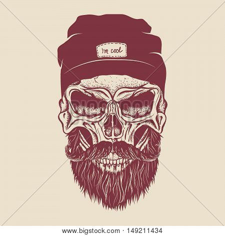 Hipster skull dressed in cap with mustache and beard