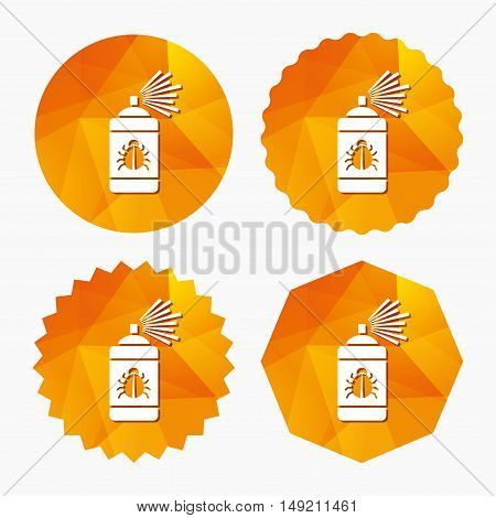Bug disinfection sign icon. Fumigation symbol. Bug sprayer. Triangular low poly buttons with flat icon. Vector