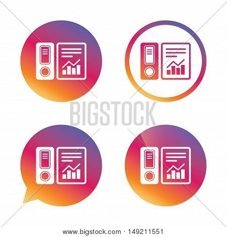 Document folder sign. Accounting binder symbol. Bookkeeping management. Gradient buttons with flat icon. Speech bubble sign. Vector