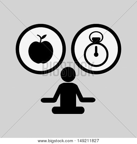 flat design fitness person pictogram with lifestyle related icons image vector illustration