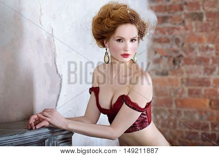 Female Portrait Of Cute Lady In Red Bra Indoors. Close Up Beautiful Sexy Model Girl In Elegant Pose.