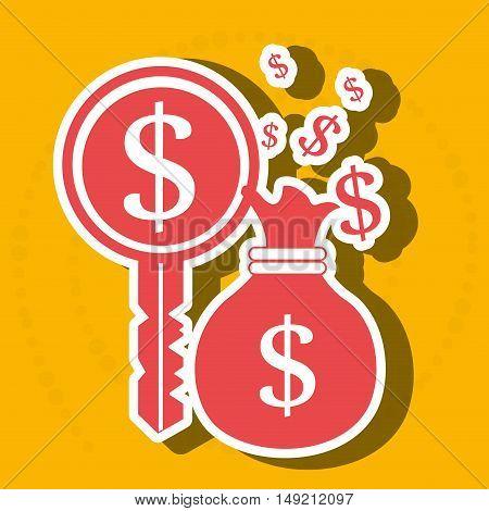 bag money dollar key vector illustration eps 10