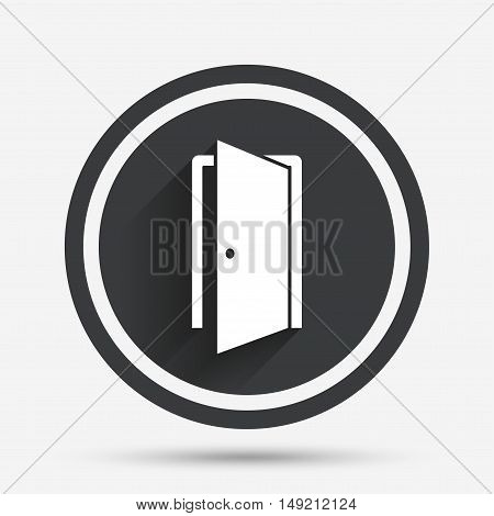 Door sign icon. Enter or exit symbol. Internal door. Circle flat button with shadow and border. Vector