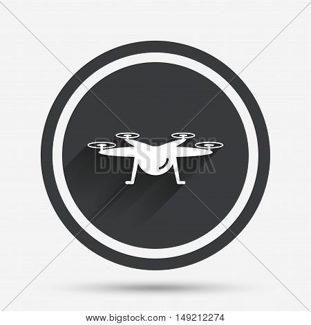Drone icon. Quadrocopter symbol. Circle flat button with shadow and border. Vector