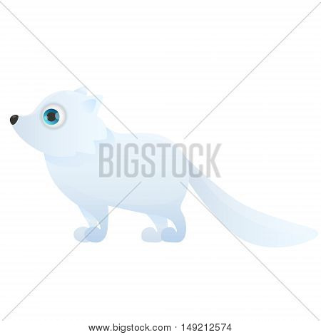 Arctic fox isolated on white background. Vector illustration
