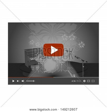 Browser-based media player with background music band on stage piano drums saxophone and guitar trumpet. Isolated object on a white background can be used with any image or text.