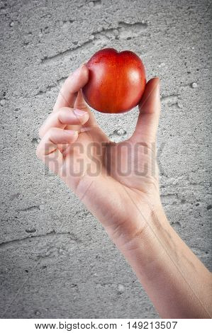 Tasty fresh ripe peach in woman hand over a grunge background