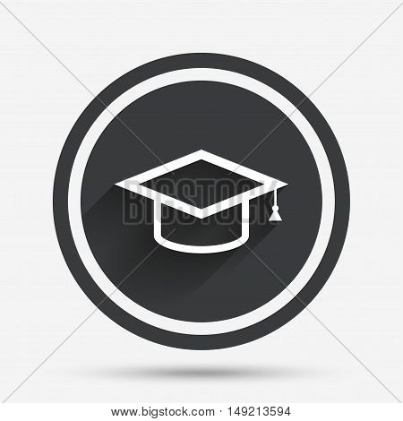 Graduation cap sign icon. Higher education symbol. Circle flat button with shadow and border. Vector