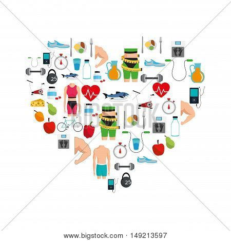 flat design assorted heart shape fitness lifestyle related icons image vector illustration