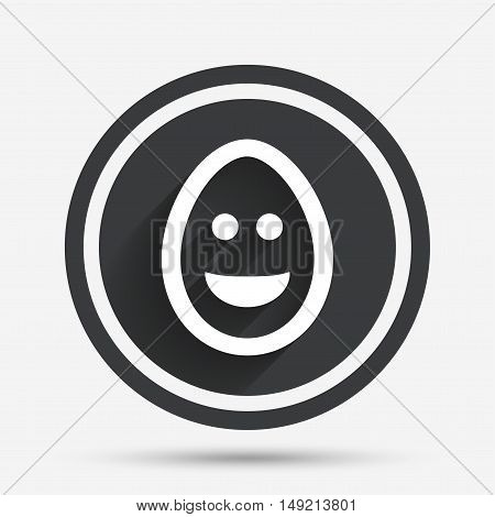 Smile Easter egg face sign icon. Happy smiley chat symbol. Circle flat button with shadow and border. Vector