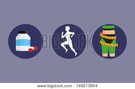 flat design person running with fitness lifestyle related icons image vector illustration