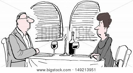 B&W illustration of married couple sitting at a table in a restaurant.