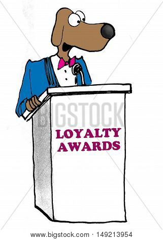 Color business illustration showing business dog being awarded the loyalty award.