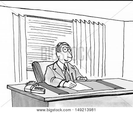 Business b&w illustration of a smiling businessman sitting at his office desk.