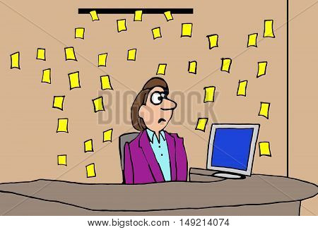 Business color illustration showing a businesswoman dismayed by all the sticky yellow notes floating onto her desk.
