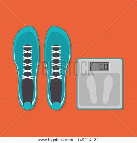 flat design sneakers with fitness lifestyle related icons image vector illustration