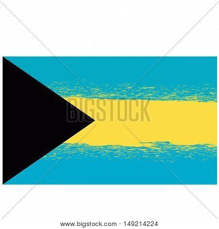 Grunge Flag of Bahamas Isolated on White Background