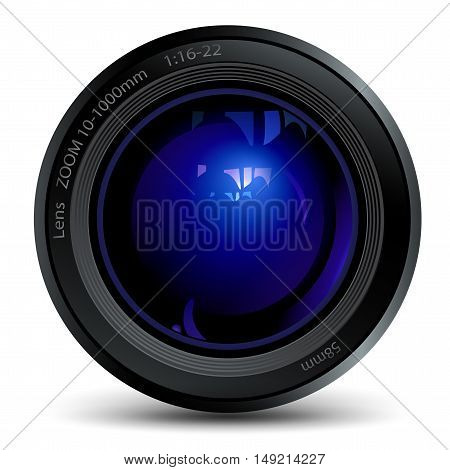 photo lens with a blue flare, isolated object
