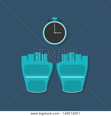 flat design weight lifting gloves and chronometer  fitness lifestyle related icons image vector illustration