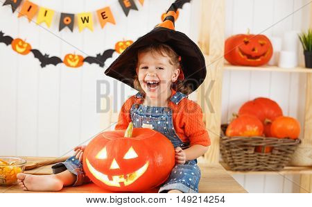 happy laughing child girl in a witches hat cut a pumpkin for Halloween holiday