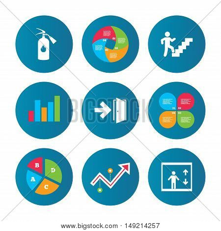 Business pie chart. Growth curve. Presentation buttons. Emergency exit icons. Fire extinguisher sign. Elevator or lift symbol. Fire exit through the stairwell. Data analysis. Vector