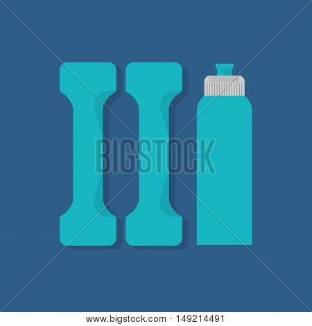 flat design sports water bottle with fitness lifestyle related icons image vector illustration