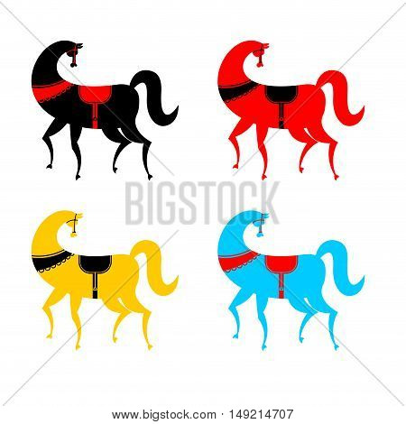 Gorodets Painting Colored Horse Set. Russian National Folk Craft. Elements Of Painting In Russia