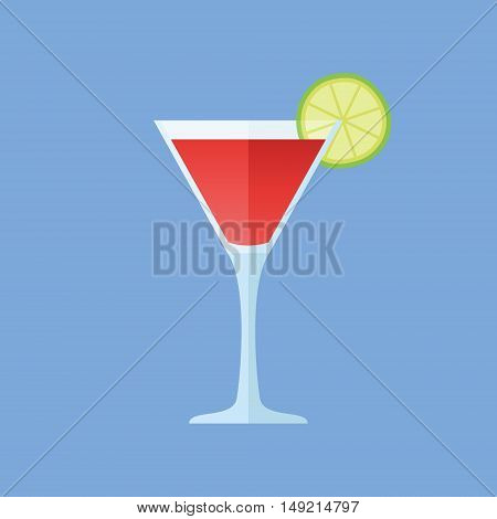 Glass of cosmopolitan cocktail with lime slice isolated on blue background. Flat style icon. Vector illustration.