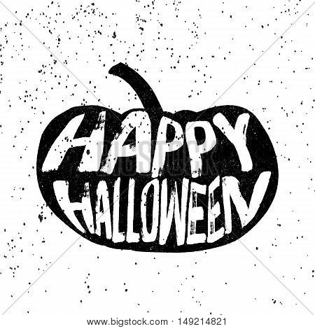Vintage pumpkin silhouette with happy Halloween text in grunge style. Vector