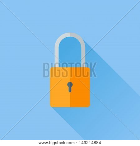 Padlock flat style icon with long shadow on blue background. Lock vector illustration.