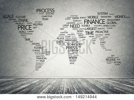 Concept of global business with world map on concrete wall