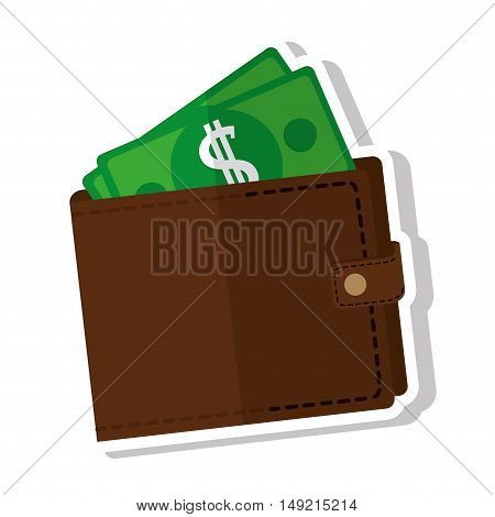 wallet with dollars icon vector illustration design