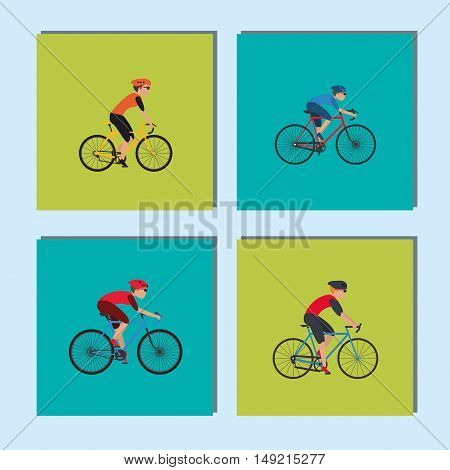 flat design cyclist and bike fitness lifestyle related icons image vector illustration