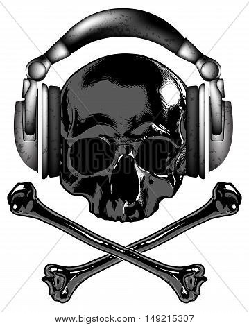 Skull in headphones and crossbones - drawing on a T-shirt