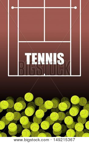 tennis Court And Ball. Lot Of Balls. Tennis Background. Sports Accessories