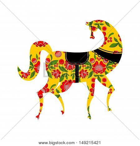 Gorodets Painting Black Horse And Floral Elements. Russian National Folk Craft. Traditional Decorati