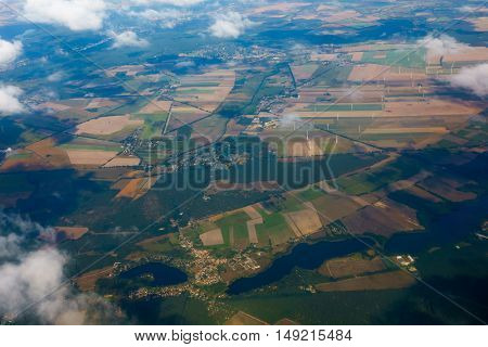 Aerial view of German agricultural land