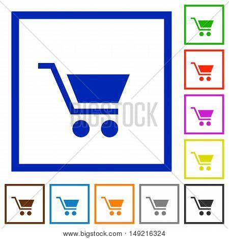 Set of color square framed empty cart flat icons