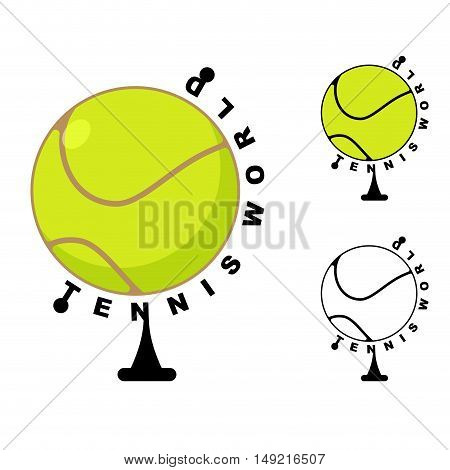 Tennis World. Game Ball Globe. Sports Accessory As Earth Sphere. Scope Of Game Tennis