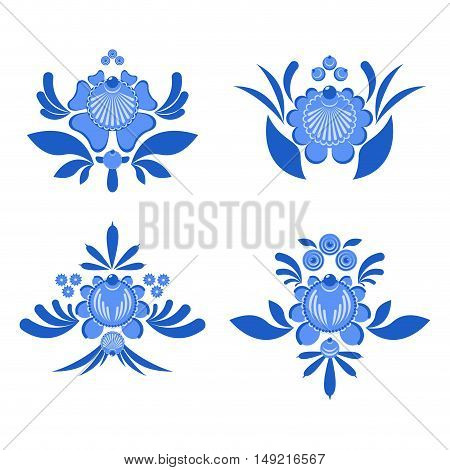 Gzhel Painted Set Of Elements Flowers And Leaves. Russian National Folk Craft. Traditional Decoratio
