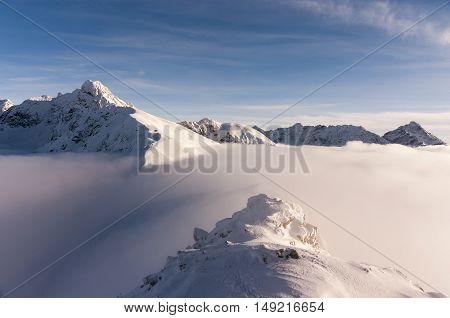 Beautiful winter mountain landscape. The Tatra Mountains