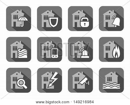 Home security systems, home insurance, flat icons, gray. Safety of living and working space. Vector gray-white icons on gray background with shadow.