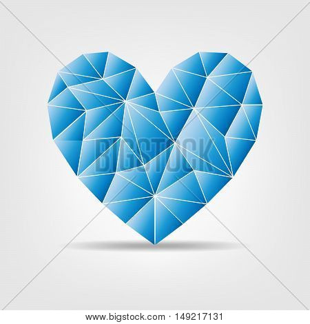 Triangular heart isolated on light background. Geometric low polygonal style. Vector illustration
